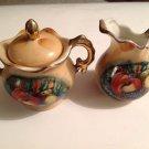 Creamer Sugar Bowl & Lid Vintage Gilt Fruit Pattern Enesco Japan E2355 Demitasse