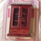 """Miniature Doll House Furniture Wood China Cabinet Armoir 4"""" Tall Childs Toy New"""