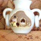 Ceramica Gardiel Mexico Pottery Vase Incense Burner Blue Matte 24 Kt Gold Trim