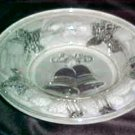 Elegant Crystal Clear Satin Glass Christmas Theme Holly Leaves & Bells Bowl Dish