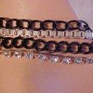 New Bracelet Silver & Black Chain Link Chains Rhinestone Strand Jewelry