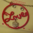 Necklace & Pierced Earrings New Boxed Set Red Enamel Rhinestone Circle Of Love