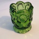 LE Smith Toothpick Holder Glass  Moon & Stars Pattern Color Lively Green Vintage