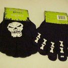 New Halloween Gloves Goth Black White Glow In  Dark Skull Skeleton Ages 8+