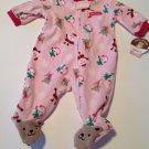 New Baby Infant Girl Footed Pajamas 0-3 Mo Santa Claus Christmas Pink Carters