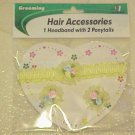 Headband Ponytail Pony Hair Accessory Set Child Baby Toddler Yellow Flower Rose