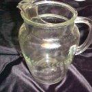 Vintage Beverage Pitcher Clear Glass Etched Laurel Wreath Pattern Mid Century