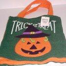 Brand New Green Felt Halloween Trick or Treat Bag Sack Jack-o-Lantern Design