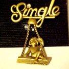 New Pin Brooch Unmarried Single Lady Woman on Swing Swinging Gold Tone Jewelry