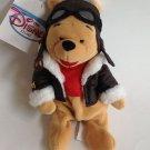 "Plush Beanie Disney Store Pilot Aviator Winnie the Pooh 8"" Bean Bag Toy New Tags"