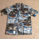 Aloha Camp Shirt Mens SS Blue Green Pacific Legend Size M Cotton Palm Trees Wave