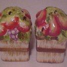 Brand New Set Porcelain Basket of Fruit Apple Figural Salt & Pepper Shakers