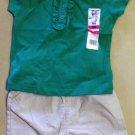 New Garanimals Classic Outfit Girls Size 12 Month Green T-Shirt Khaki Shorts