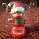 New Solar Sun Powered Rudolph Reindeer Christmas Dances Sunlight & Wiggles Head