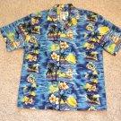 Aloha Camp Shirt Mens Size L SS Blue Ky's Hawaii Palms Flower Boats Ocean Sunset
