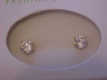 Pierced Earrings New Solitaire Zirconia Crystal Jewelry Post Stud Gift Box