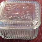 Glass Refrigerator Dish Fruit Design Lid Vintage Mid Century Ribbed Clear