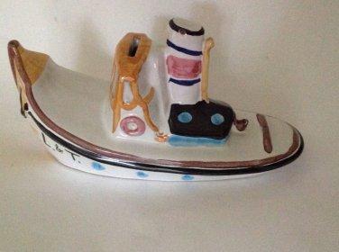 Still Bank Italy Italian Pottery Porcelain Ship Boat Ocean Liner  L & T 733 Rare