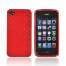 Red 3D Cubes TPU Crystal Silicone Case Cover For Apple Iphone 4S 4