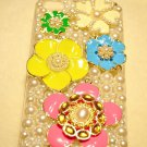 3D COLORFUL FLOWERS & PEARL DESIGN iPhone 4S Case Daisies
