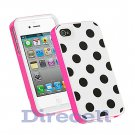 NEW 3 PIECE POLKA DOTS SKIN GEL HARD CASE COVER FOR iPhone 4 4G 4S 4GS 4th WHITE