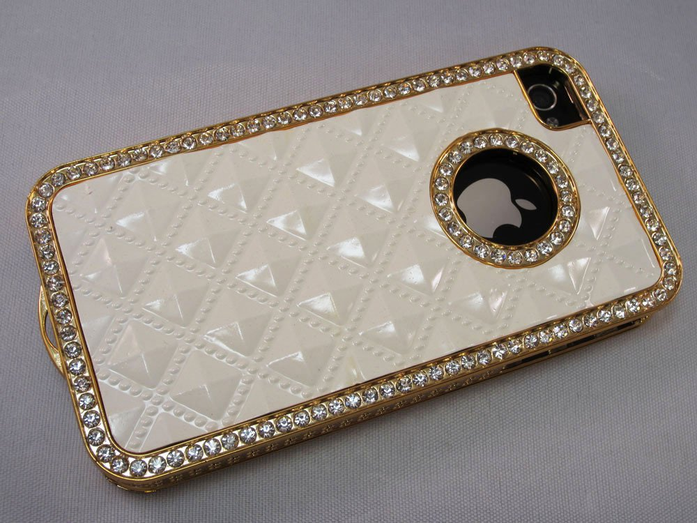 White Gold Luxury Rhinestone Diamond Bling Back Case Cover for iPhone 4 4G 4S
