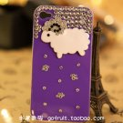 iphone4S diamond drill following Case Cover little sheep shell apple 4 phone sets protection purple