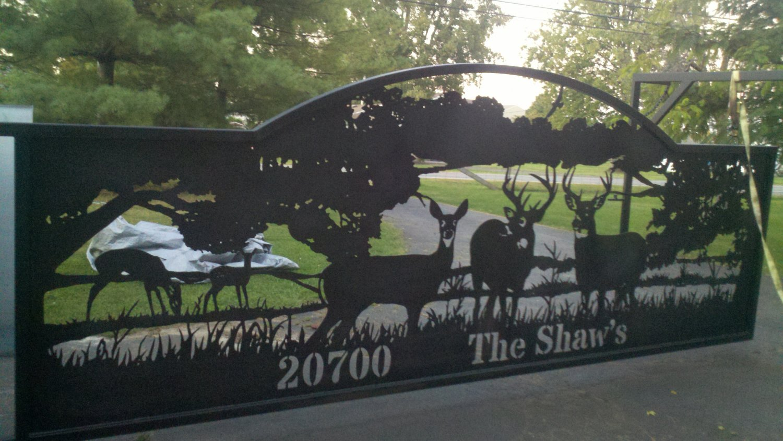 Driveway Gate Deer In A Field Plasma Cut Silhouette By