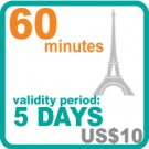 60 minutes for  US$10, validity period: 5 days