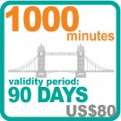 1000 minutes for US$80, validity period: 90 days