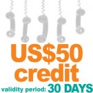 Virtual PIN with US$50 credit amount  validity: 30 days