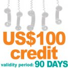 Virtual PIN with US$100 credit amount  validity: 90 days