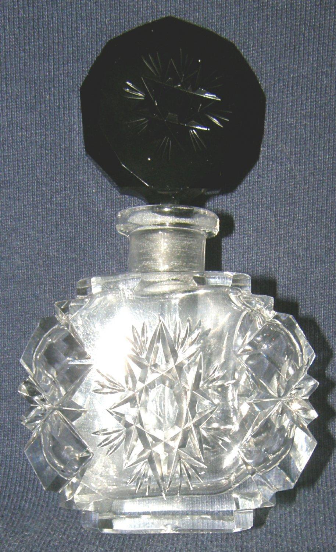 Czechoslovakian Hand Cut Crystal Perfume Bottle - Ebony Stopper