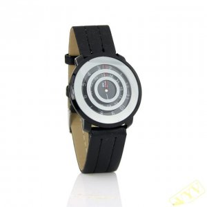 New Fashion Mens Three Circle Dial Leather Wrist Watch Black