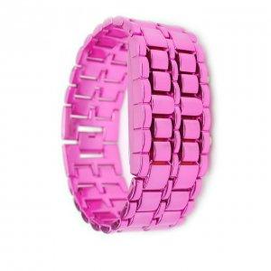 Stainless Purple Steel LED Red Digital Unsex Bracelet Watch