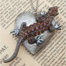 Steampunk Lizard Locket Necklace Vintage Style Original Design