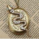 Steampunk Snake Locket Necklace Vintage Style Original Design