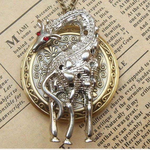 Steampunk Giraffe Locket Necklace Vintage Style Original Design