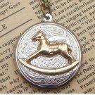 Steampunk Rocking Horse Locket Necklace Vintage Style Original Design