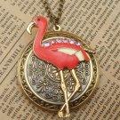 Steampunk Flamingo Locket Necklace Vintage Style Original Design