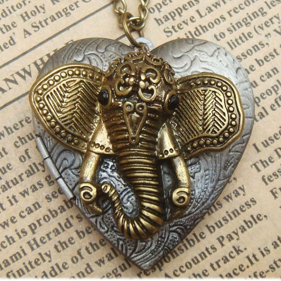 Steampunk Elephant Locket Necklace Vintage Style Original Design
