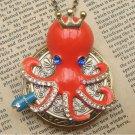 Steampunk Octopus Locket Necklace Vintage Style Original Design