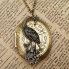 Steampunk Peacock Locket Necklace Vintage Style Original Design