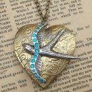 Steampunk Swallow Locket Necklace Vintage Style Original Design