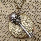 Steampunk Skull Key Locket Necklace Vintage Style Original Design