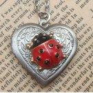 Steampunk Ladybug Locket Necklace Vintage Style Original Design