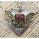Steampunk Flying Heart Locket Necklace Vintage Style Original Design