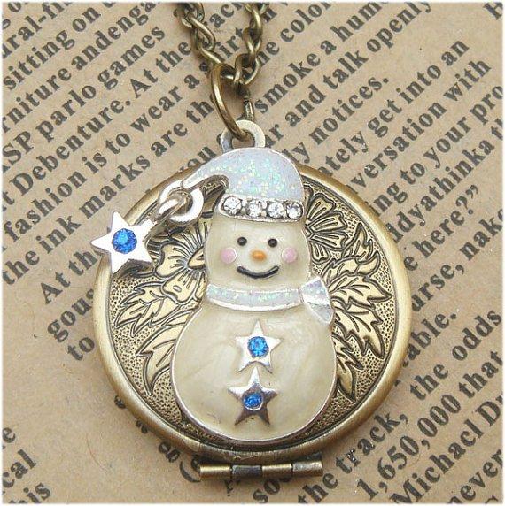 Steampunk Snowman Locket Necklace Vintage Style Original Design
