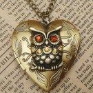 Steampunk Gold Owl Heart Locket Necklace Vintage Style Original Design