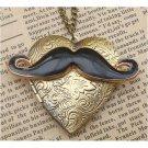 Steampunk Mustache Locket Necklace Vintage Style Original Design